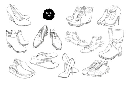 Vector illustration of Set hand drawn graphic Men and women Footwear, shoes. Casual and sport style, gumshoes. Moccasins, sneakers, boots, pumps. Doodle, drawing Design isolated object. Illustration