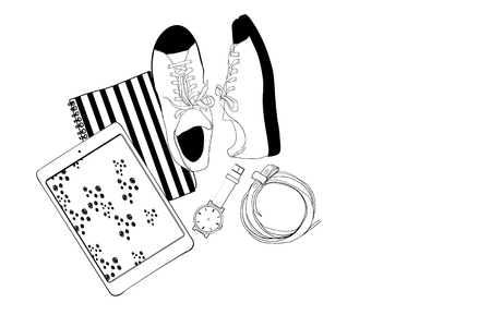illustration of man or women background for blogger. Flat lay style of sneakers, tablet, notebook, watch and belt. Sketch and hand drawn style. Vectores