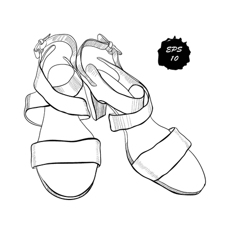Illustration of isolated objects sandal shoes. Drawing graphic design for woman, girl and lady, footwear for summer. Illustration