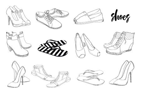 Illustration de définir des chaussures graphiques pour hommes et femmes dessinés à la main, chaussures. Style décontracté et sport, gumshoes, mocassins, baskets, bottes, escarpins. Doodle, dessin objet isolé de conception.