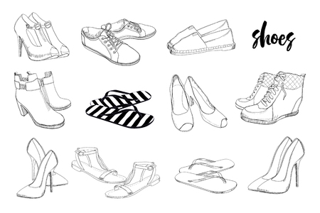 Illustration of set hand drawn graphic men and women footwear, shoes. Casual and sport style, gumshoes, moccasins, sneakers, boots, pumps. Doodle, drawing design isolated object.