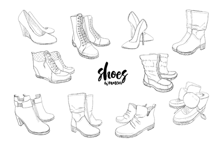 illustration of Set hand drawn graphic Men and women Footwear, shoes. Casual and sport style, gumshoes. Moccasins, sneakers, boots, pumps. Doodle, drawing Design isolated object. Vettoriali