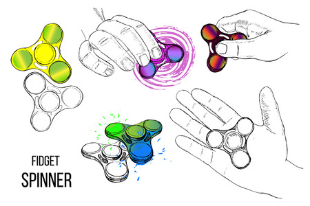 Vector illustration of Set fashionable trend for teenager. Fidget spinner with hand of hand drawn style with paint splashes. Design element for play. Fidgeting hand toy rotating on child is hand. Illustration