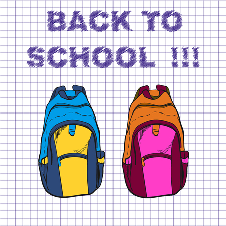 illustration of school bag for boy and girl on notebook background. Back to school text.