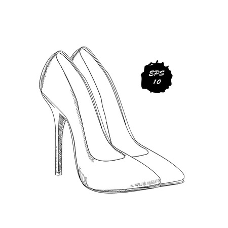 illustration of isolated object classical, dess shoes. Drawing graphic design for woman, girl and lady. Footwear for working dy and holiday.