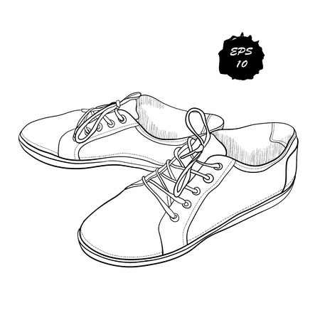 Vector illustration of hand drawn sneakers