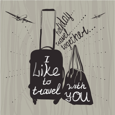illustration Travel inspiration quotes on suitcase silhouette. V