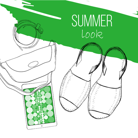 illustration of Fashion summer flat lay with sandal, woman bag, belt and tablet. Drawing, sketch design for blogger. Female doodles objects with lettering.