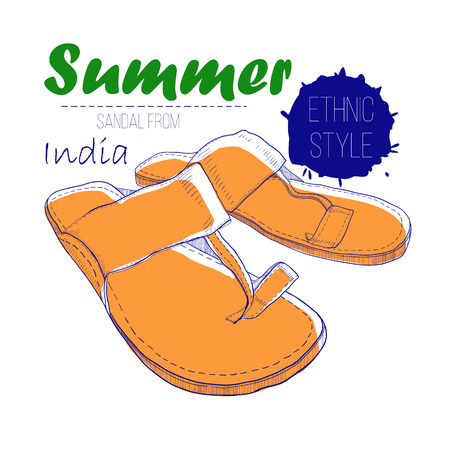 illustartion of drawing sandal from India with lettering text. Summer woman of ethnic style shoe for log design. Illustration