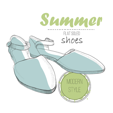 illustartion of drawing sandal on flat soled with lettering text. Summer woman shoe for logo design. Hand drawn isolated object for design. Illustration