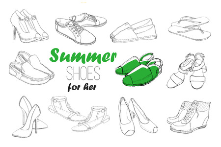 illustration of Set hand drawn graphic Men and women Footwear, shoes. Shoe for casual, sport and classical style, gumshoes, boots for all seasons. Doodle, drawing of isolated object.