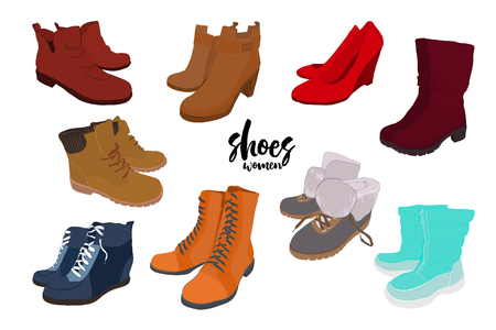 illustration of Set hand drawn color Men and women Footwear, shoes. Shoe for casual, sport and classical style, gumshoes, boots for all seasons. Doodle, drawing Design isolated object. 일러스트