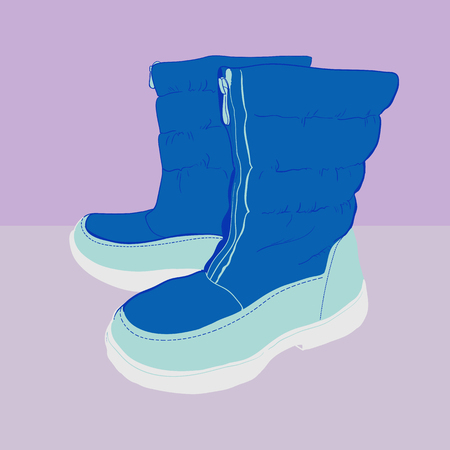 illustration of hand drawn colorful women Footwear in isometric style. Shoes Casual and sport style, snow boots for cold seasons. Design isolated object.