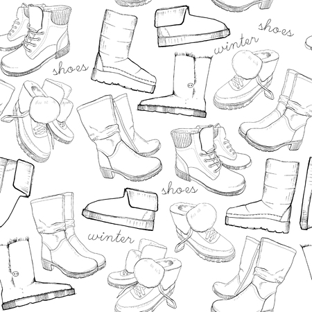 Vector illustration of Hand drawn sketch seamless pattern of Shoes. Running shoes sneakers, boots, flip flops, boots, moccasins, loafer with lettering. Design element. Wrapping paper