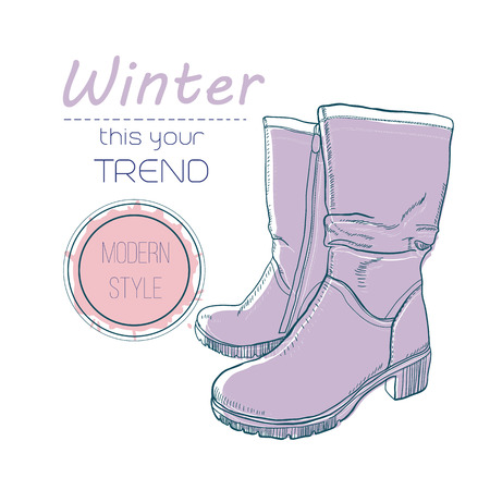 boots shoes for winter. Poster Retro style. Design flyer with vintage hand-drawn illustrations.
