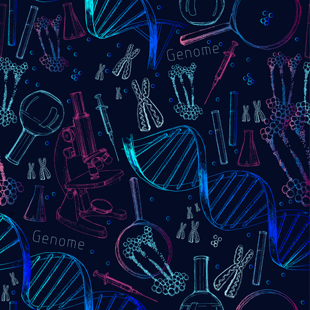 Hand drawn seamless pattern of structure of DNA. genome sequence. Health and biochemistry laboratory of nanotechnology. Molecule helix of dna, genome or gene evolution. Doodle elements. Gene editing tool.
