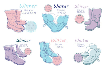 illustration set of sketch boots, shoes for winter. Poster Retro style for cold season. Hand drawn elements with vintage style, sketch. Footwear for woman, lady, man and kids. Doodle style 일러스트