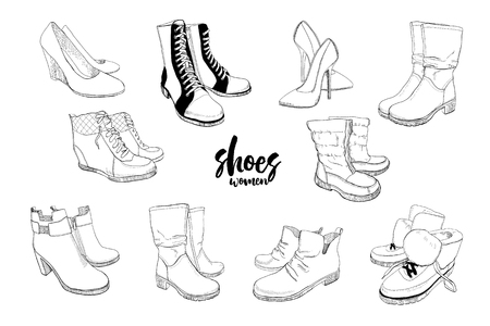 illustration of Set hand drawn graphic Men and women Footwear, shoes. Casual and sport style, gumshoes. Moccasins, sneakers, boots, pumps. Doodle, drawing Design isolated object. 일러스트