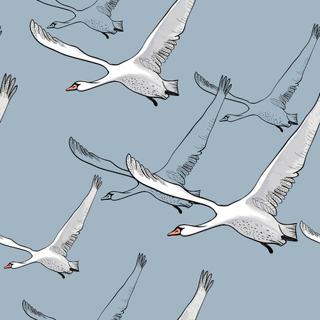 Vector illustration of Seamless pattern of drawing Flying flock Swans. Hand drawn, doodle graphic design with birds. Wrapping paper, wallpaper, backdrop.