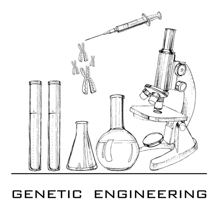 illustration of hand drawn genetic engineering. Set elements for DNA laboratories. Sketch microscope, test tubes, syringe and celll chromosome. Objects for laboratories researches