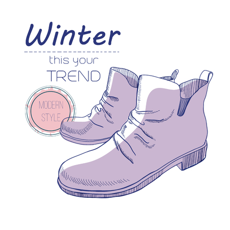 sketch boots, shoes for winter. Poster Retro style. Design flyer with vintage hand-drawn, sketch illustrations. Poster with shoe