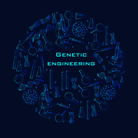 Vector illustration of Modern web hand drawn banner for online education. Sketch concept for online laboratories. Genetic engineering.