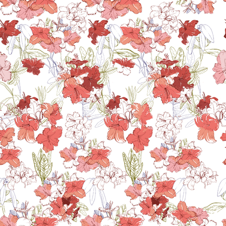 Vector illustration of seamless pattern with branch pink rhododendron. Hand drawn flowers for textile and background. Engraved botanical art 일러스트