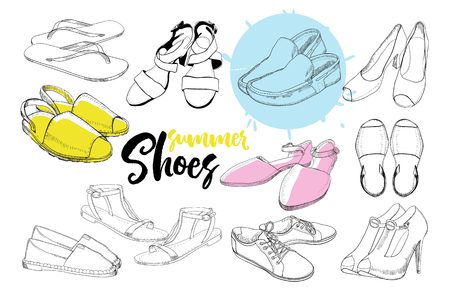 illustration of Set hand drawn graphic women Footwear, shoes for summer. Sport style, gumshoes, moccasins, sneakers, boots, pumps. Doodle, drawing Design isolated object. Active life. 일러스트