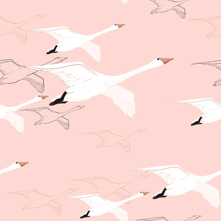 Vector illustration of Seamless pattern of drawing Flying Swans. Hand drawn, doodle graphic design with birds. Wrapping paper, wallpaper, backdrop.