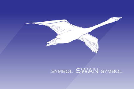 illustration of silhouette swan vector icon. flying swan with shadow sign on blue background. swan icon for web and app. Reklamní fotografie - 124529361