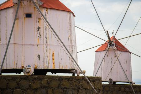 santo: Porto Santo Windmills Stock Photo