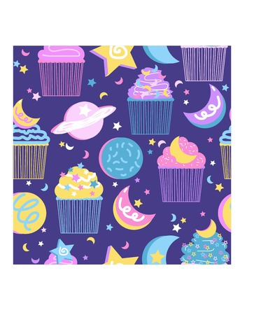 Seamless Repeating Vector Pattern Space Themed Cookies and Cakes