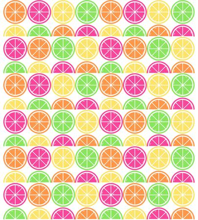 Seamless repeating vector pattern of citrus fruit slices on white background