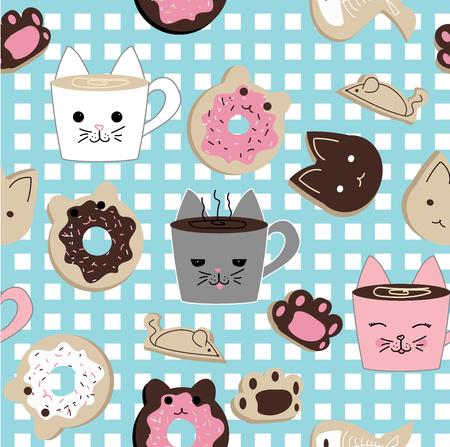 Modello vettoriale ripetuto senza soluzione di continuità di dolci kawaii cat cafe