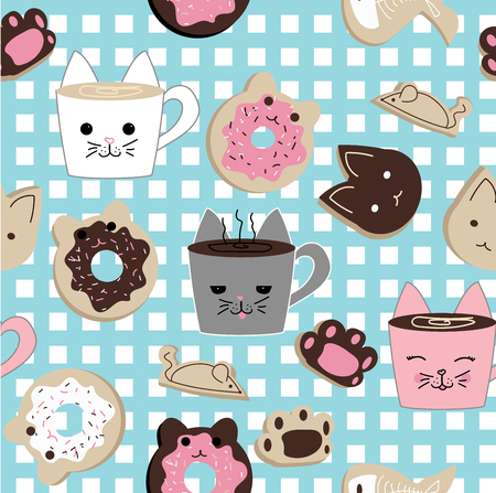 Seamless repeating vector pattern of kawaii cat cafe sweets Illusztráció