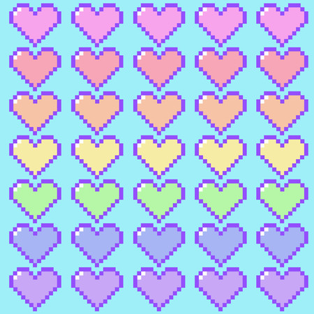 Kawaii pastel rainbow pixel hearts on blue background repeating seamless vector pattern Çizim