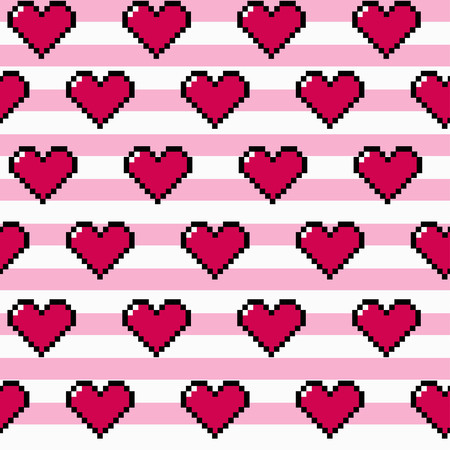 Pixel heart repeating seamless vector pattern on stripe