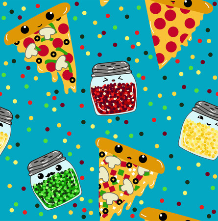 Pizza pals party time kawaii pizza slices and spice jars seamless repeating vector pattern