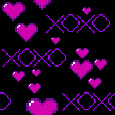 XOXO pixel heart Valentine seamless repeating vector pattern