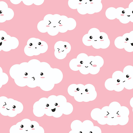 Seamless repeating vector pattern of happy fluffy clouds on pink background