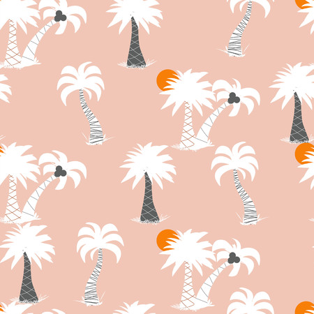 Seamless repeating vector pattern of tonal palm trees with suns on a peach background