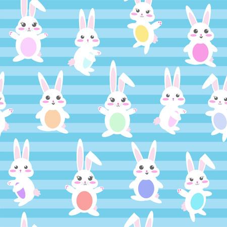 Seamless repeating vector pattern of kawaii pastel bunnies on blue stripe background 일러스트