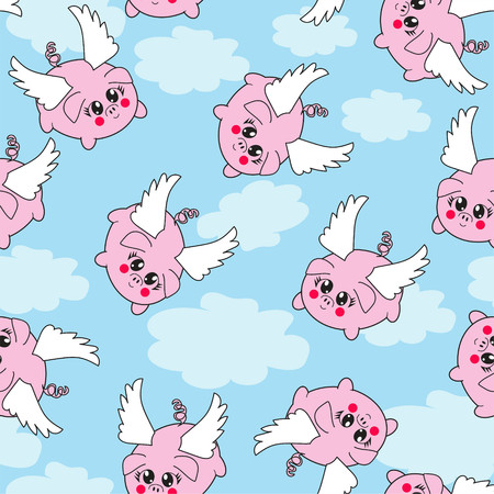 Seamless repeating vector pattern of kawaii flying pigs on a blue sky background