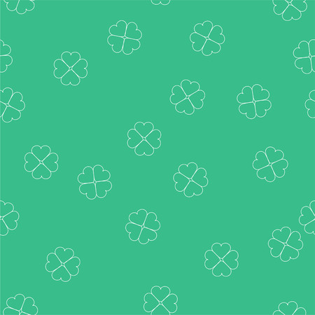 Seamless repeating vector pattern four leaf clovers on green background