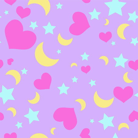 Seamless repeating vector pattern hearts, moons, stars on purple background