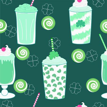 Seamless repeating vector pattern of shamrock clover mint milkshakes