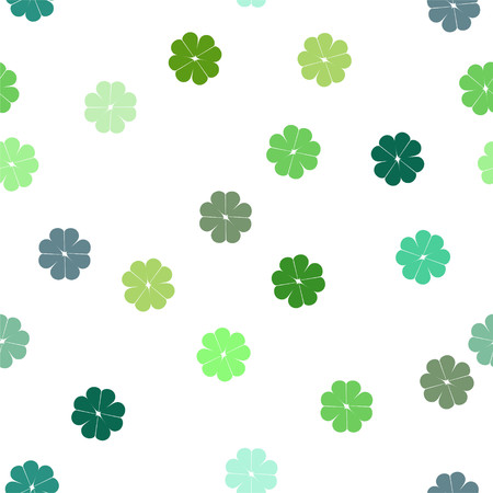 Seamless repeating vector pattern of green clover shamrocks on white background
