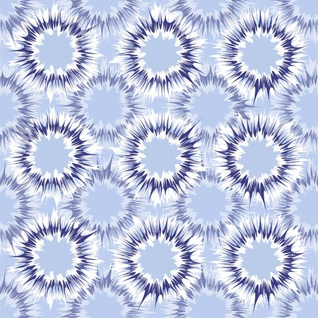 Tie dye circles vector repeat seamless pattern in indigo and blue tones  イラスト・ベクター素材
