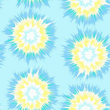 Tie dye circles vector repeat seamless pattern in blue, yellow and aqua Vettoriali