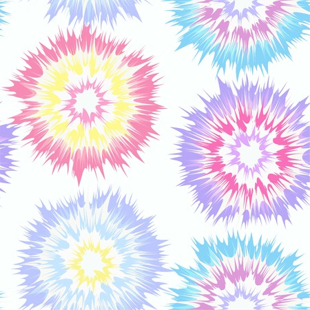 Tie dye circles vector repeat seamless pattern in soft, pastel colors